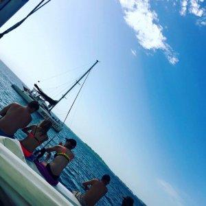 sitting on a catamaran in Bocas del Toro