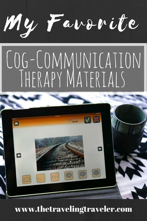 graphic with an ipad that says cog-communication therapy materials