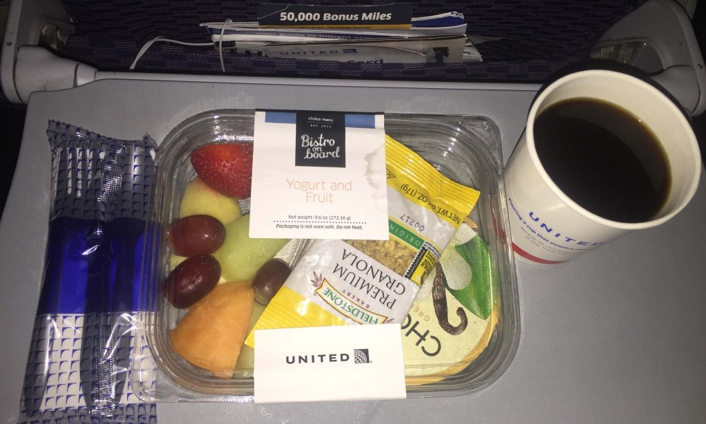 Purchased meal on United Economy
