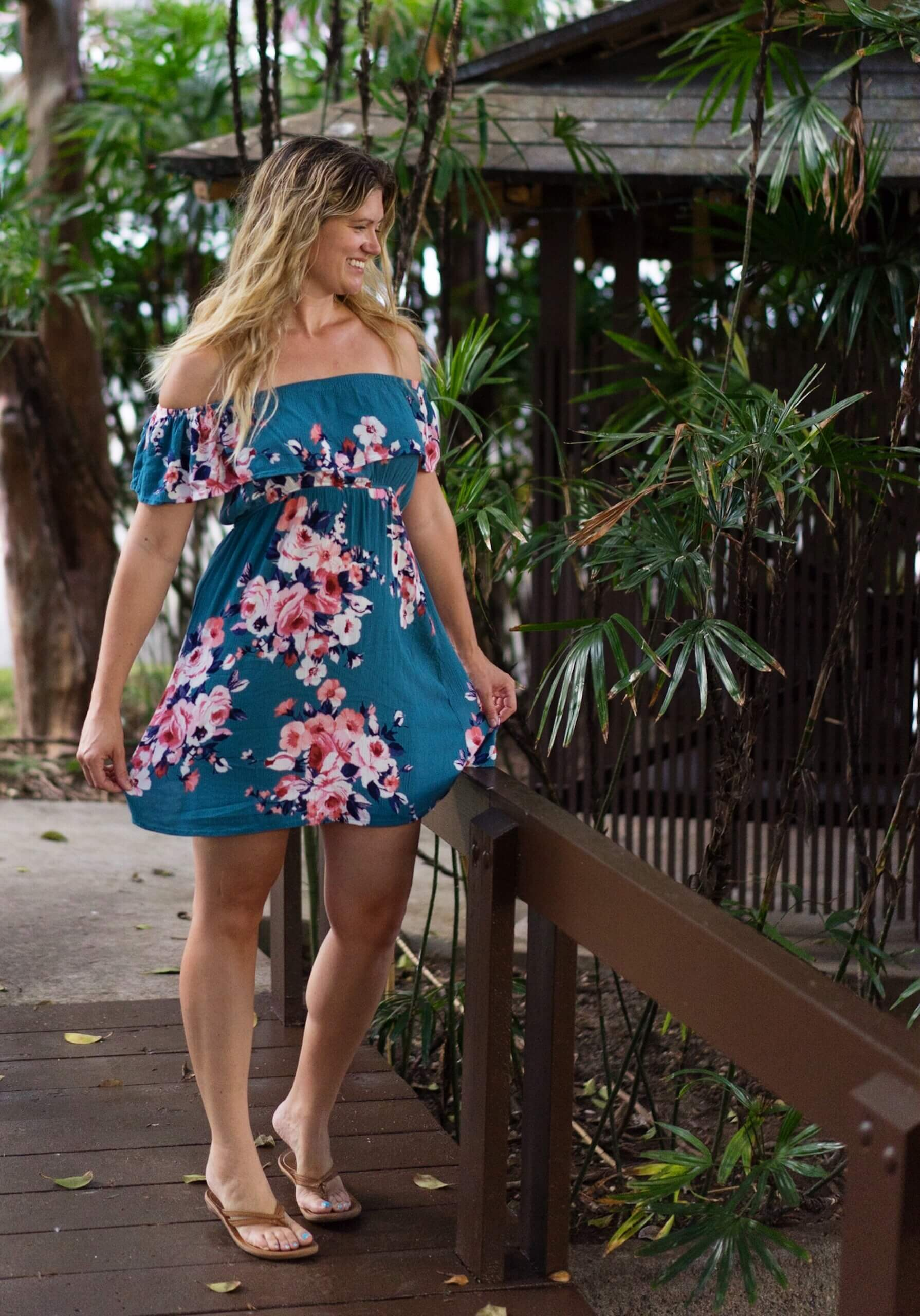 woman in a floral dress