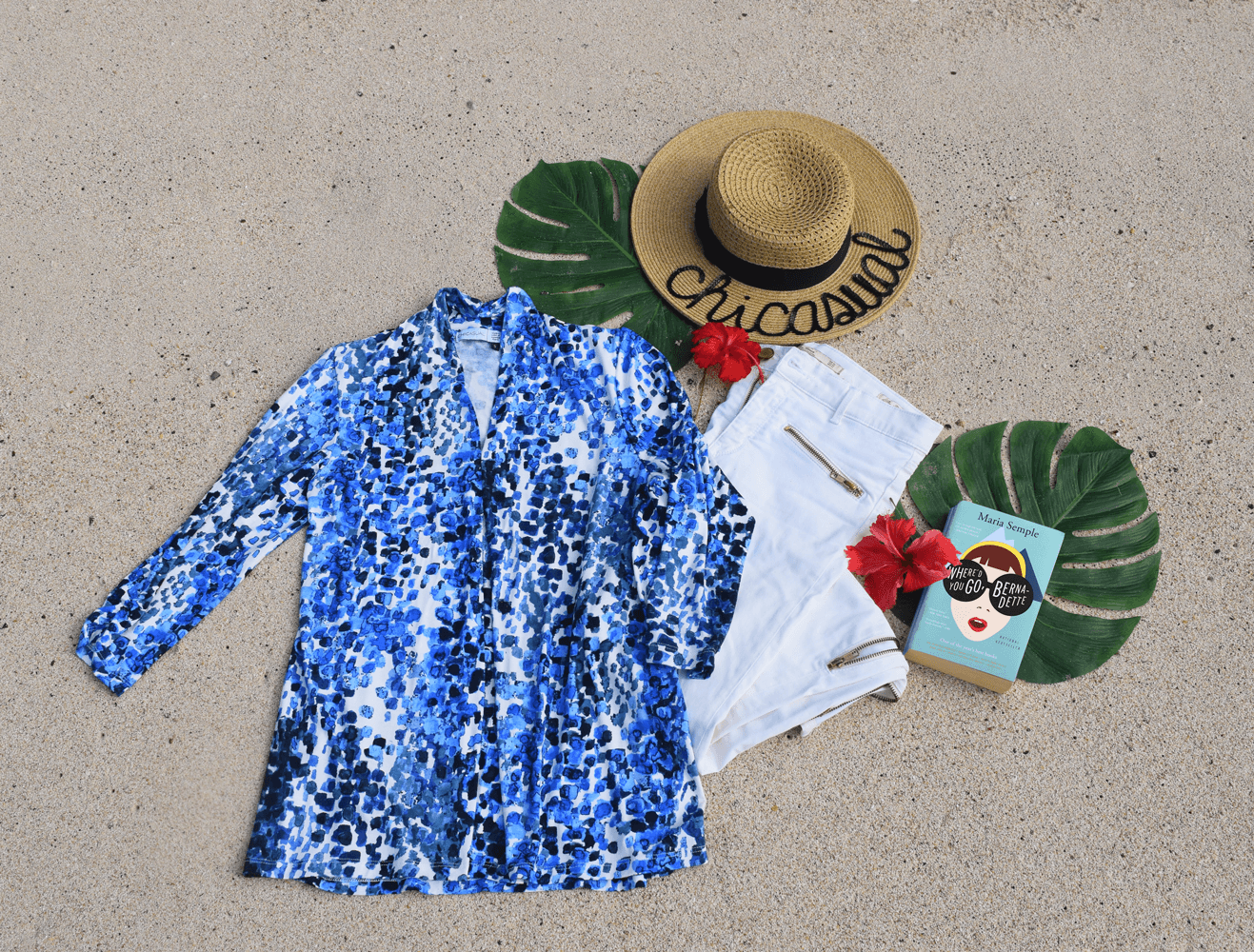 Blue floral women's tunic and hat