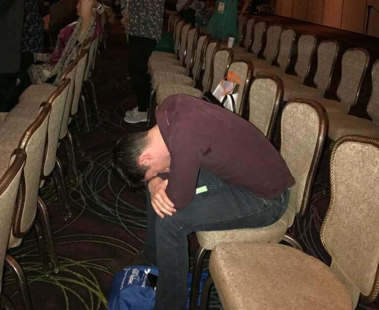 Man sleeping at TravCon is Las Vegas