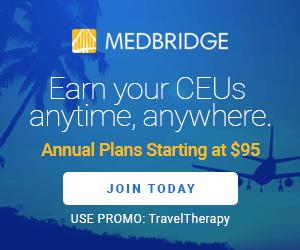 MedBridge advertisement for online CEU's for SLP's starting at $95/year