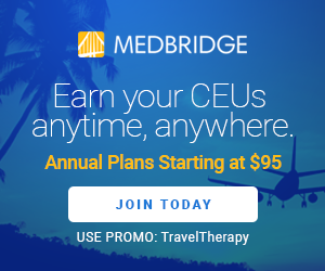 MedBridge advertisement for online CEU's for SLP's starting at $95/year