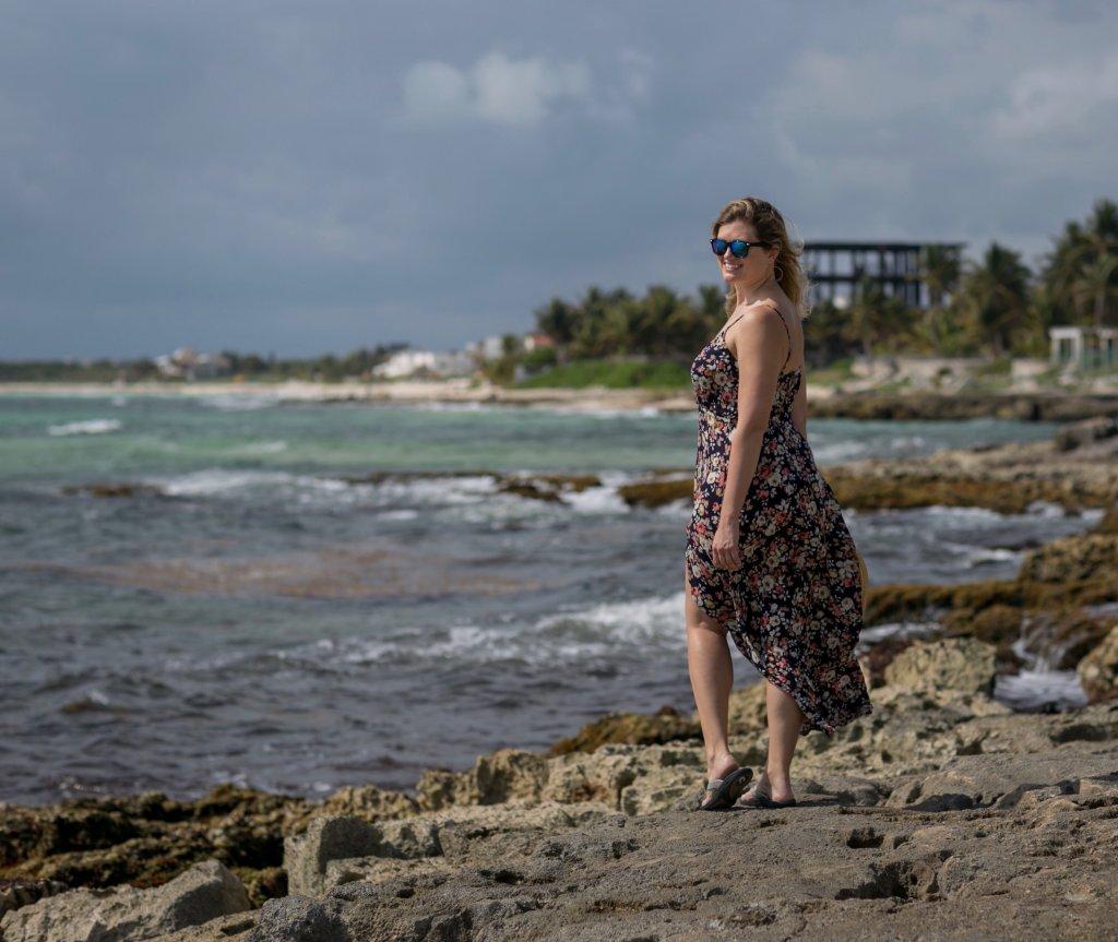 a women standing on the beach