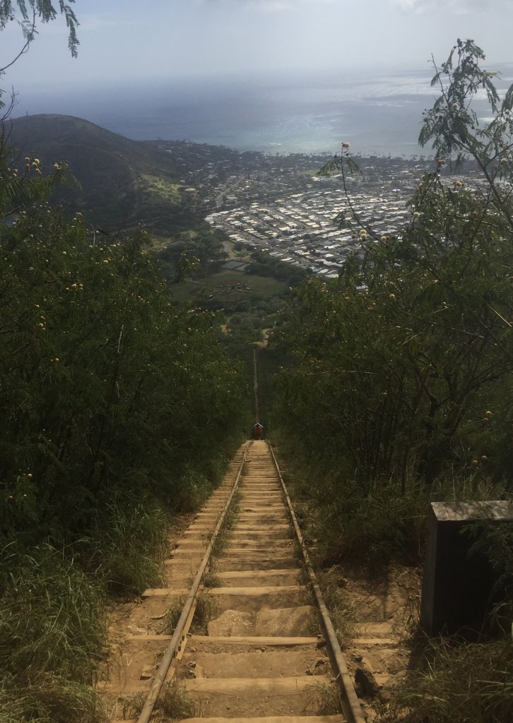 a view of koko head stairs