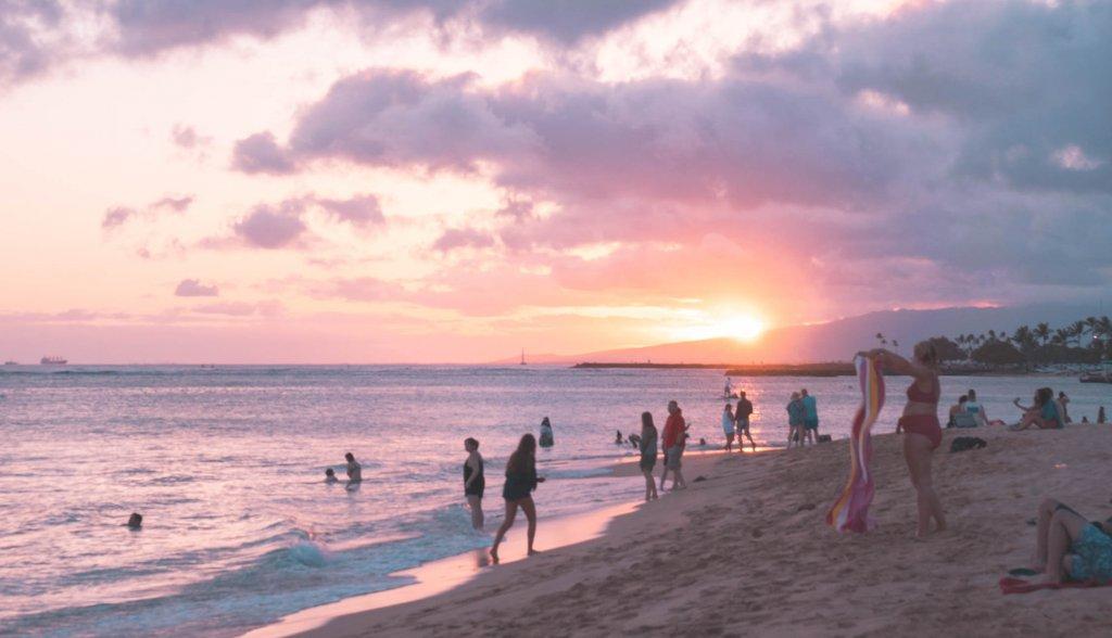 people on the beach at Waikiki
