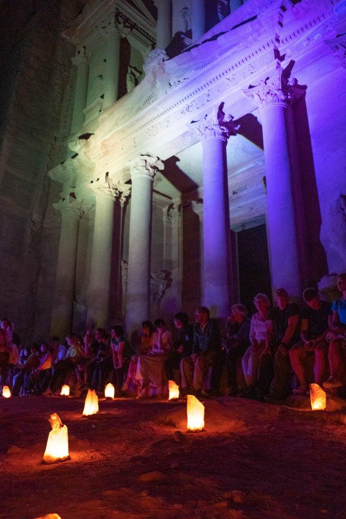 Petra, Jordan at night lit up by candles