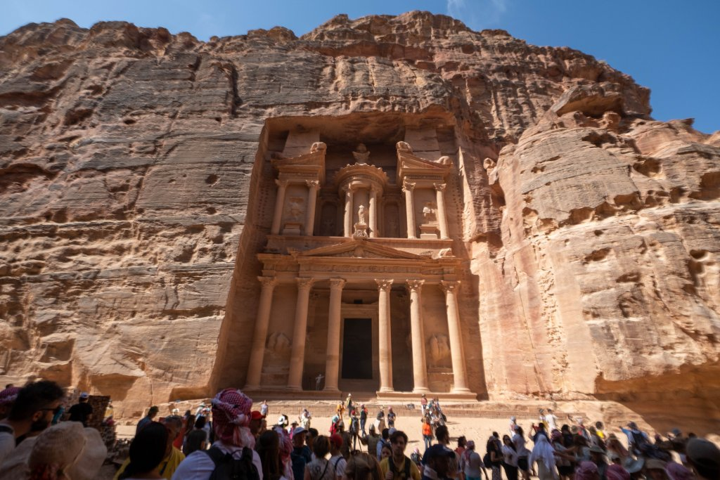crowds of people visiting Petra