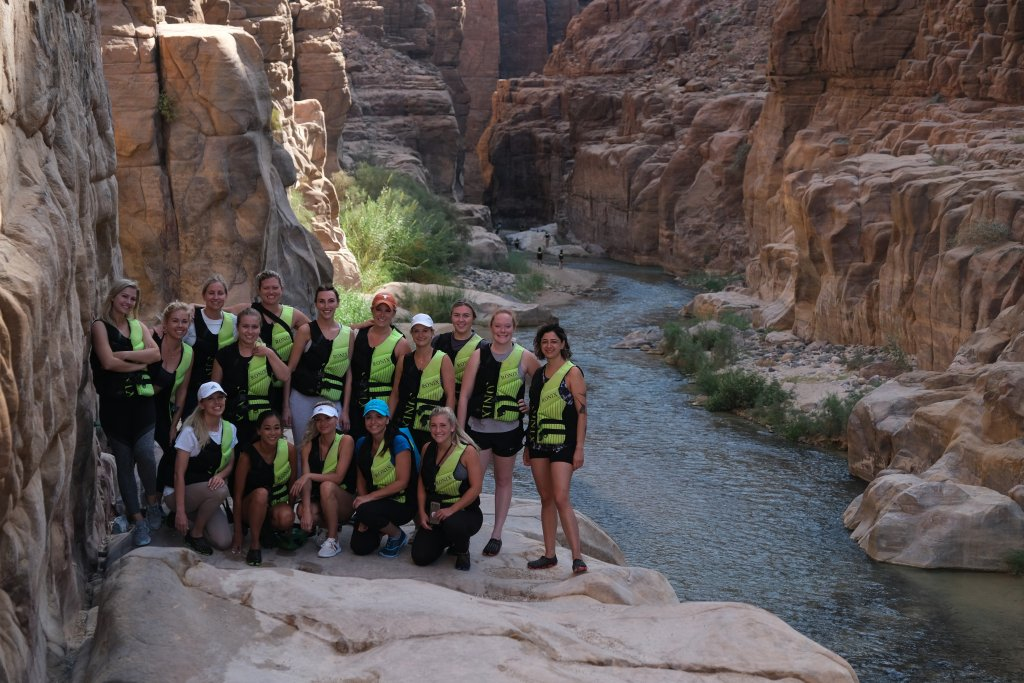 group of hikers at Wadi Mujib Siq