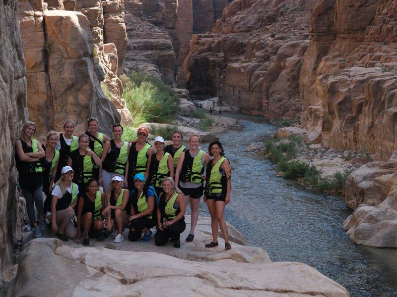 group of hikers at Wadi Mujib Siq