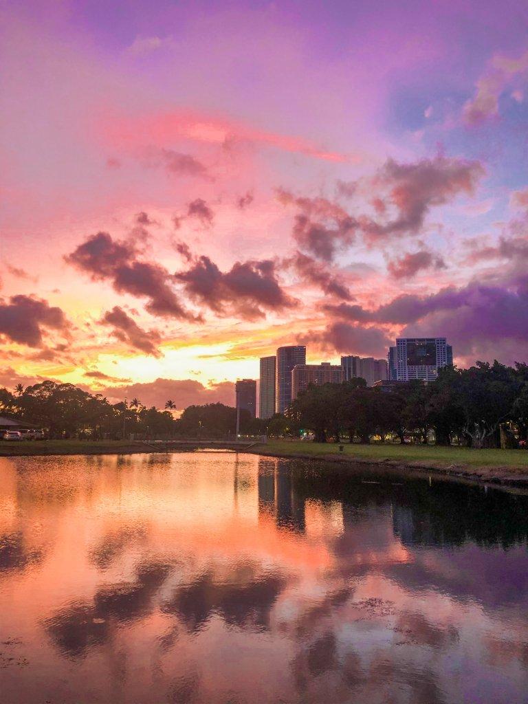 sunset over Ala Moana beach park