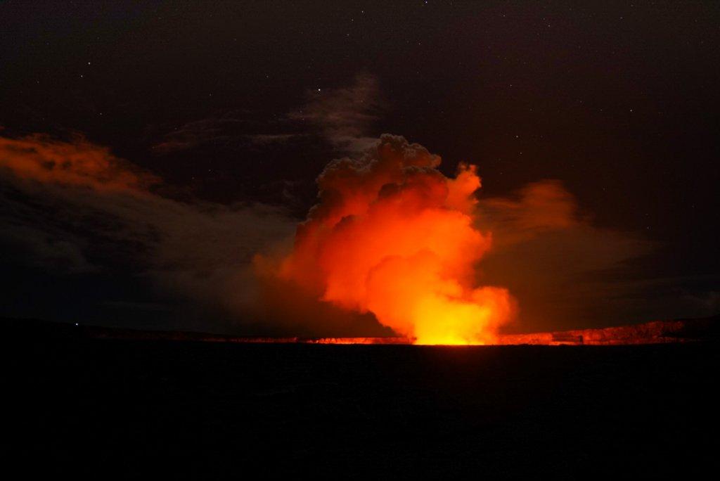 lava glow at night