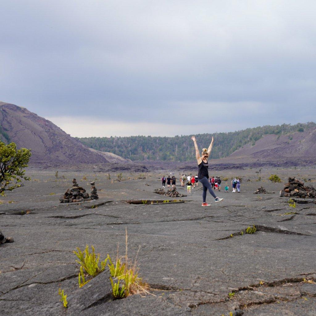 a women standing on the floor of Kilauea Ike