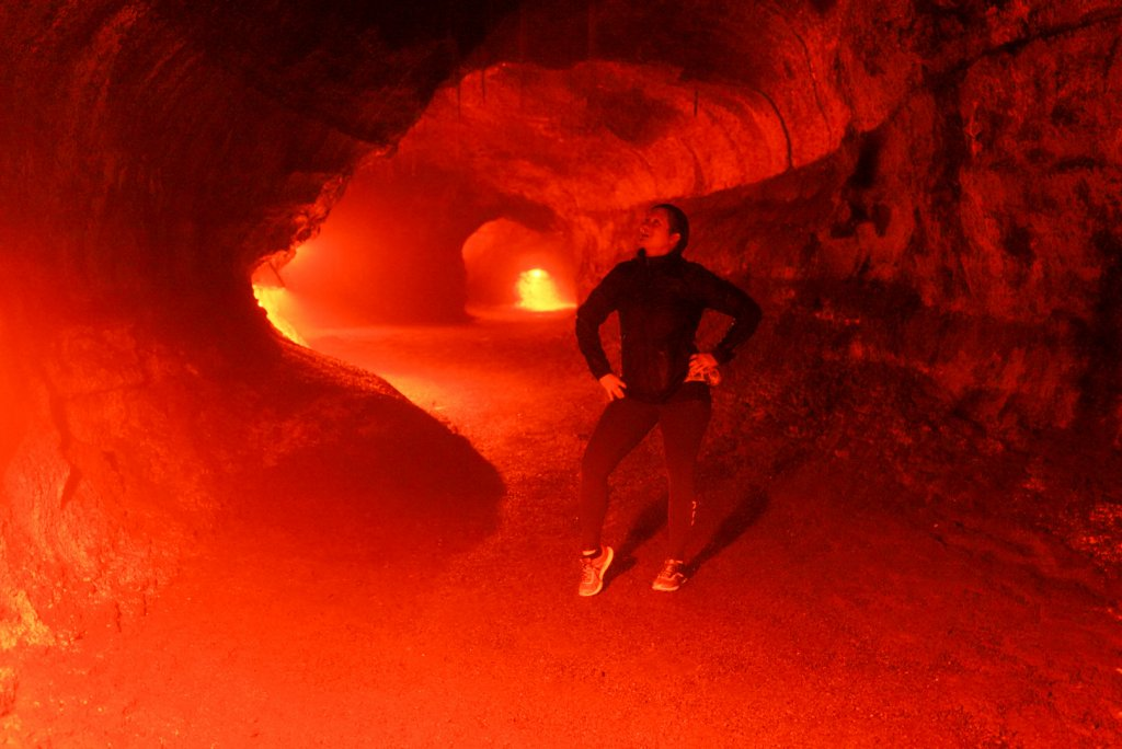 a women standing in the Thurston lava tube